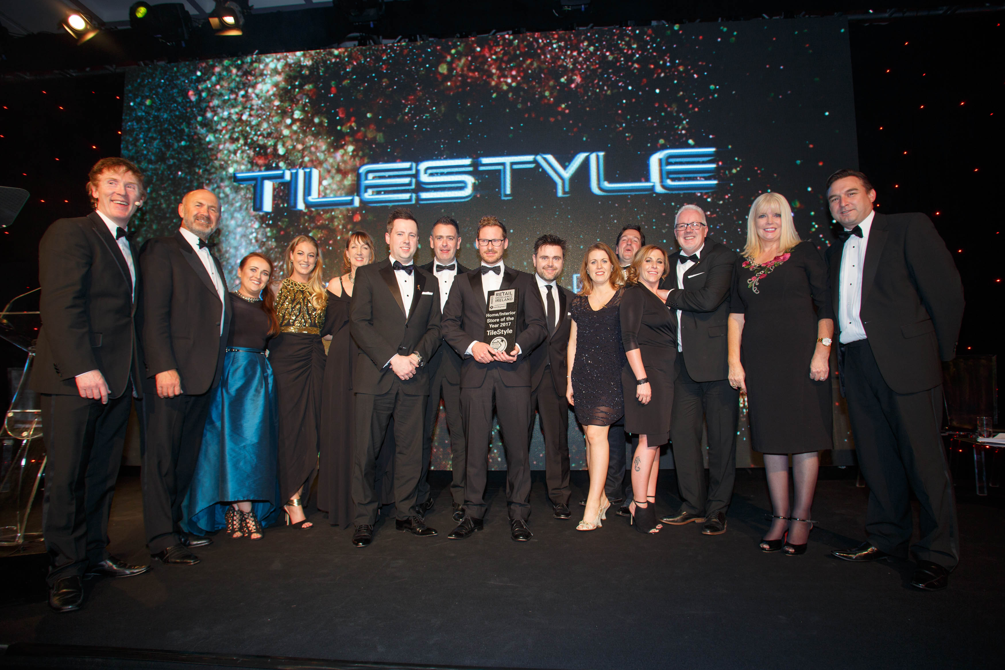 tilestyle ballymount receiving their home interior store of the year award at the retail excellence